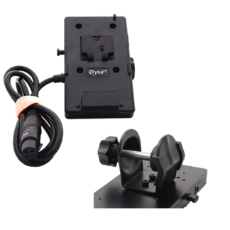 Battery C-Clamp Mount w/ 3 Pin XLR cable (V-mount) - Dynacore