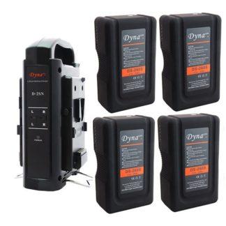 4x Battery Kit w/ Dual Charger (V-mount) 14.8v 260Wh - Dynacore