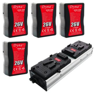 4x Battery Kit w/ Dual Charger (V-Mount) 26V 230Wh - Dynacore