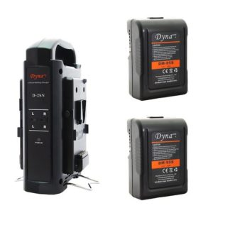 2x Battery Kit w/ Dual Charger (V-mount) 14.8V 95Wh - Dynacore